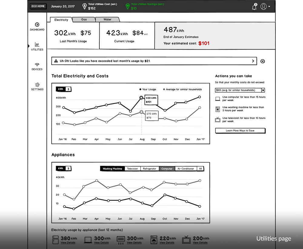 Utilities page